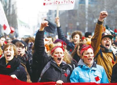魁省學生再上街  抗議漲學費