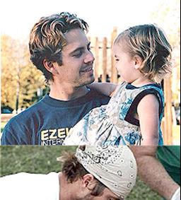 (上圖)保羅沃克抱著愛女小Meadow,並以充滿父愛的眼神看著女兒,十分溫馨。(下圖)保羅沃克做公益救助孩童。p1022-a8-18a