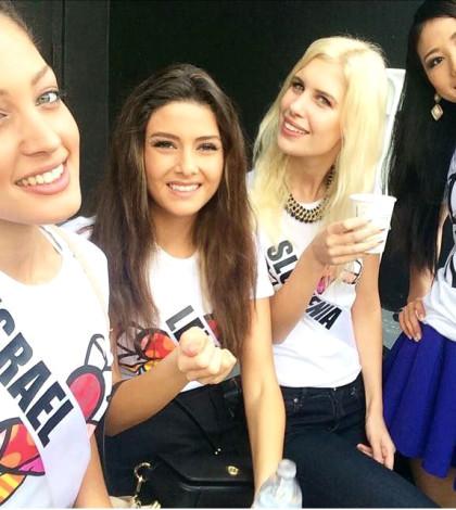 誰最美?圖左起分別為環球小姐競選佳麗以色列小姐、黎巴嫩小姐、斯洛維尼亞小姐和日本小姐。p1040-a4-06