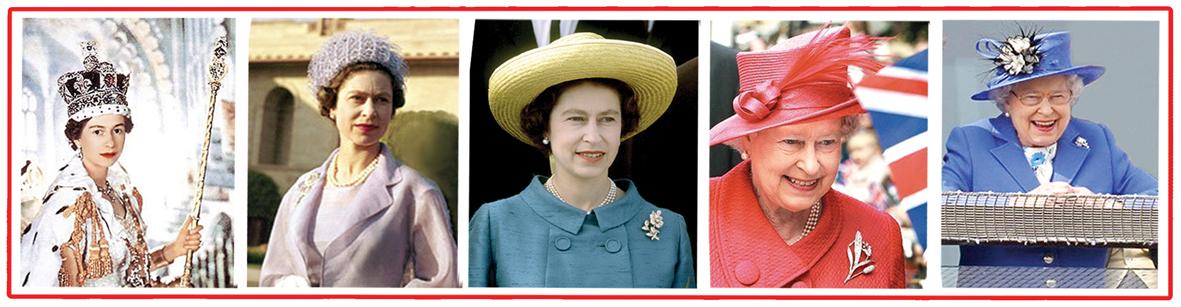 1953年女王加冕( 左一)、1961年女王訪印度( 左二)、英女王引領時尚潮流( 中、右二)、2012登基60年(右一)p1073-a1-03