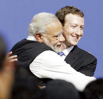 印度總理莫迪擁抱臉書的老闆馬克祖克柏p1076-a4-09