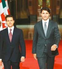 加國總理杜魯多(右)與墨西哥總統涅托(左)p1115-a4-04