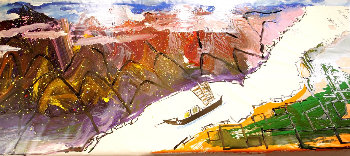 圖為盧師尊巨幅畫作「一帆風順  滿載而歸」p1151-07-08