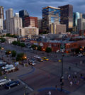 DENVER, CO - JUNE 13:  A view of the intersection of 20th Street and Blake Street with the Denver skyline in the background from the Coors Field as the Oakland Athletics defeated the Colorado Rockies 10-8 during Interleague Play at Coors Field on June 13, 2012 in Denver, Colorado.  (Photo by Doug Pensinger/Getty Images)