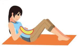 專家表示,運動不足造成肌肉萎縮,腹部周圍僵硬,是導致便祕的主因。適度的給予腹部肌肉刺激助改善便祕。STEP1.雙腿伸直坐著。STEP2.將膝蓋彎曲,像是要看下腹部一樣,讓整個背部拱起。STEP3.一邊吐氣,一邊緩緩地將上半身往後倒。STEP4.停在下腹部能自然施力的位置,保持5個呼吸。STEP5.上半身回到原位,重整呼吸後再次往後倒,來回五次。p1154-a6-04