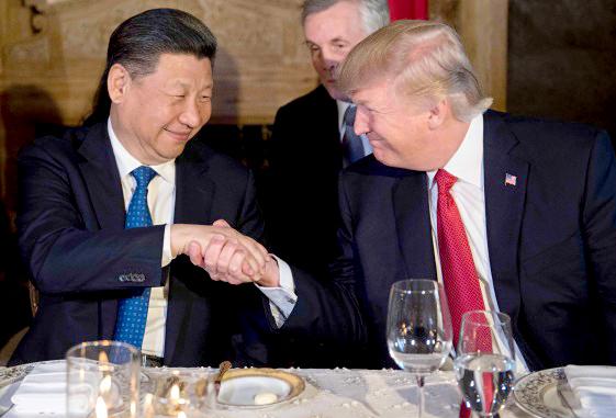 美國總統川普在莊園舉行歡迎晚宴握手歡迎中國國家主席習近平p1156-a1-03a