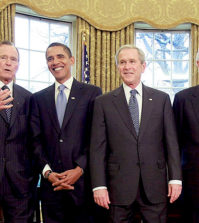 WASHINGTON - JANUARY 07:  U.S. President George W. Bush (C) meets with President-elect Barack Obama (2nd-L), former President Bill Clinton (2nd-R), former President Jimmy Carter (R) and former President George H.W. Bush (L) in the Oval Office January 7, 2009 in Washington, DC. On January 20, 2009 Barack Obama will be sworn in as the nations¡¦s 44th president.  (Photo by Mark Wilson/Getty Images)