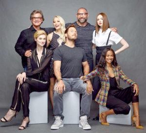 主要演員Kurt Russell, Chris Pratt, Zoe Saldana,  Dave Bautista, Karen Gillan, Pom Klementieff,  and Elizabeth Debicki合影 p1159-a8-13