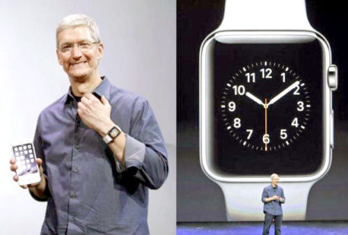 蘋果CEO Tim Cook左手上配戴著Apple Watch。 p1162-a4-03Web Only