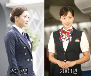 南韓第一美女金喜善 「南韓第一美女」金喜善雖然已39歲,依舊駐顏有術,近來她主演新劇《有品味的她》,劇照也搶先曝光,時隔14年她再度扮演空姐,絲毫沒有變老的感覺,凍齡美貌驚人。 p1164-a5-01