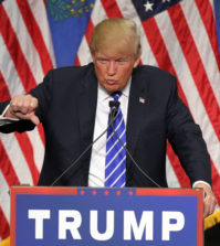 LAS VEGAS, NV - OCTOBER 08:  Republican presidential candidate Donald Trump speaks during a campaign rally at the Treasure Island Hotel & Casino on October 8, 2015 in Las Vegas, Nevada.  During the rally, Trump said people were giving him credit for helping force House Majority Leader Kevin McCarthy to bow out of the race for Speaker of the House.  (Photo by Isaac Brekken/Getty Images)