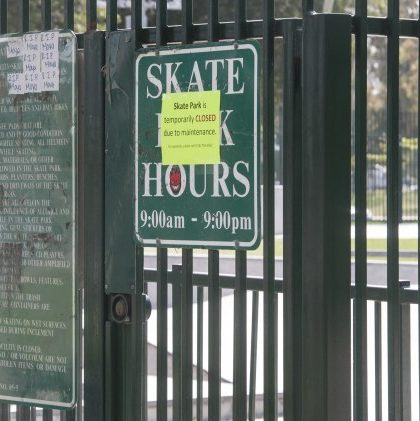 Volcom Skate Park in Costa Mesa is closed on Monday after police encountered 100 to 200 people hurling profanity and banging their boards on the ground Ð requiring 50 officers to help disperse and leading to the arrest of three people, one of whom was shot with a Taser on Sunday night.. (Photo by Kyusung Gong, Orange County Register/SCNG)