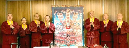 宗委會會長蓮花程祖上師(左4)與眾處長在核心小組會合影